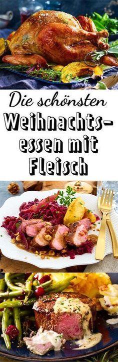 Christmas dinner with meat- Weihnachtsessen mit Fleisch Mmmmhhh, there the anticipation for feasting rises! Easter Dinner Recipes, Thanksgiving Appetizers, Thanksgiving Side Dishes, Thanksgiving Recipes, Holiday Recipes, Healthy Side Dishes, Side Dishes Easy, Homemade Green Bean Casserole, Plat Simple