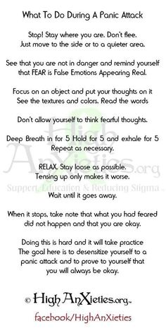 Panic Attack Survival Guide. This is excellent. Worth printing off, and carrying it around. #panic #anxiety #recovery                                                                                                                                                      More #PanicAttackQuotes