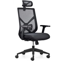 Commercial furniture60mm PU Castor meeting executive fabric modern office furniture with black mesh back