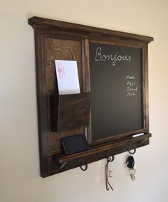 Chalkboard Mail Organizer letter holder  Key / Coat / Hat rack - RusTic - Home Decor