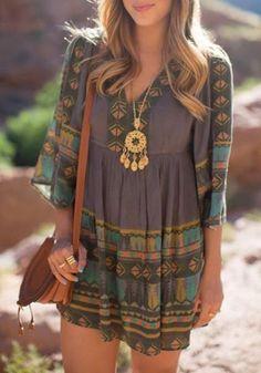 New Women Multicolor Geometric Draped V-neck Half Sleeve Oversize Boho Vintage Country Mini Dress