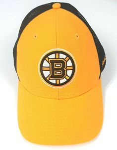 9c7a36ba9e9 Boston Bruins Reebok Snapback NHL Cap Yellow Black Mesh Hat Face Off  Headwear  Reebok