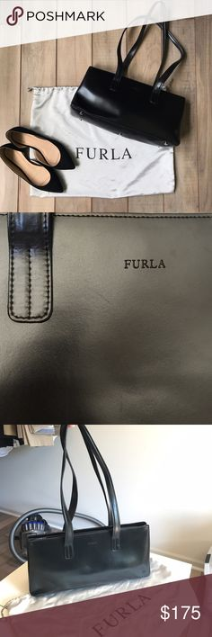 Vintage Furla Black Shoulder Bag Vintage Furla. Great condition aside from a few small scuffs. Check out my other vintage bags! Furla Bags Shoulder Bags