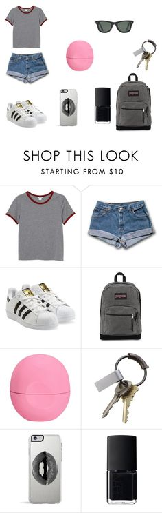 #5 by mili-gaarcia on Polyvore featuring moda, Monki, adidas Originals, JanSport, Lipsy, Ray-Ban, CB2, Eos and NARS Cosmetics