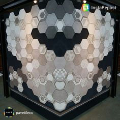 Art work with #rewind exagonal decorations  #ragno #walltiles #concreteeffect #ceramics #tiles