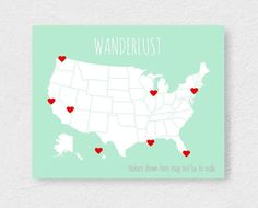 Love Story USA Map With Florida Cities Islands Cuba Dominican - Cute us map