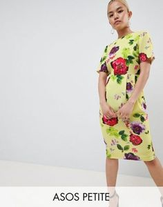 1c2bbb20bdaf ASOS DESIGN Petite yellow floral midi wiggle dress Yellow