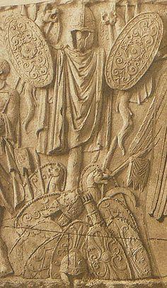 Roman relief.Trajan's column Dacian warrior