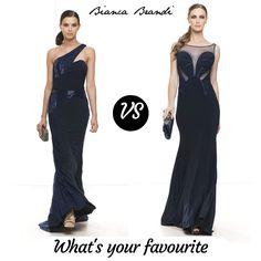 Oggi più più che mai all'insegna dell' #eleganza...  #Blu notte uno dei maggiori #color #trend del 2016 per due meravigliosi #abiti lunghi! Voi preferite #scollatura asimmetrica e ricamo prezioso o sensuali trasparenze?