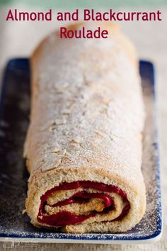 A light almond sponge filled and rolled with luscious blackcurrant curd. This almond and blackcurrant roulade is a delicious cake bursting with fruity flavour is low in fat and naturally gluten-free. #gluten-free #low fat #onlycrumbsremain Fatless Sponge, Baking Recipes, Dessert Recipes, Low Fat Desserts, Cake Tray, Baking With Kids, Sweet Pie, Cake Tasting, Desert Recipes