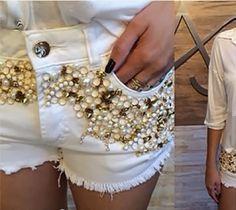 Shorts bordados, aplicação de pedrarias, shorts customizados, camisas femininas bordadas, cintos bordados, bordados em pedrarias em são josé dos campos sp