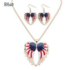 2.52$  Buy here - RHao Women Drip Heart Wings Necklaces and earrings jewelry sets girls lovely angel wings jewelry sets bohemian gift   #magazineonlinewebsite