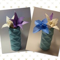 January 9th 2015 Origami flowers and vase I made today.  #origami #flower #lily #vase #blue #purple #white #folding #paper #9