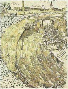 Vincent van Gogh Drawing, Pen Saint-Rémy: 1888 Kröller-Müller Museum Otterlo, The Netherlands, Europe F: JH: 1507 Image Only - Van Gogh: La Roubine du Roi with Washerwomen Artist Van Gogh, Van Gogh Art, Art Van, Landscape Drawings, Landscape Art, Landscape Paintings, Van Gogh Drawings, Van Gogh Paintings, Edouard Manet