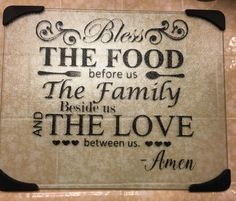 Glass cutting board//bless the food// bible verse// custom kitchen// themed…