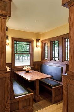"""Maybe do a bench and table in sunroom? Here are some pics from the interior of a 1928 Sears kit home that was remodeled and featured in Fine Homebuilding """"An American Bungalow: Before and After."""" If you want to read more about this. Craftsman Interior, Craftsman Kitchen, Craftsman Style Homes, Craftsman Bungalows, Bungalow Interiors, Bungalow Homes, Style At Home, Dining Nook, Kit Homes"""