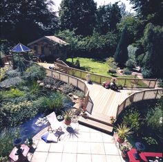 Timber decking is great for connecting different parts of the garden.