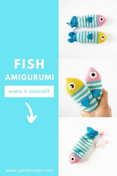 Crochet amigurumi fish pattern | Garnknuten | This cute and easy amigurumi fish is called Steve! Here you'll find the downloadable PDF crochet pattern! #crochet #pattern #amigurumi #fish #pouch Organic Cotton Yarn, Crochet Food, Fish Patterns, Crochet Hook Sizes, Crochet For Beginners, Crochet Patterns Amigurumi, Diy Toys, Stitch Markers, Stuffed Toys Patterns