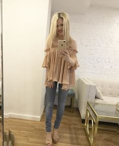 nude off the shoulder top, fashion blog