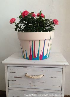 Bring a little spring inside & learn how to paint a ceramic pot with this fun drip pattern #sponsored http://www.confessionsofanover-workedmom.com/2014/03/paint-ceramic-flower-pot.html @Oriental Trading Company