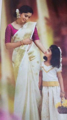 Set Saree Kerala, Kerala Wedding Saree, South Indian Sarees, Saree Wedding, Kerala Saree Blouse Designs, Saree Blouse Neck Designs, Blouse Patterns, Saree Painting Designs, Saree Dress