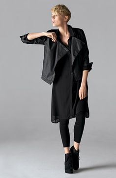 Eileen Fisher Jacket, Shirtdress & Ankle Leggings..Not crazy about the shoes or the model's personal style, but the basics of this give me inspiration.