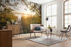 Fototapet Natura - Apus pe Lac Vlies pentru decorare pereti. Aplicare usoara si culori rezistente in timp. Fototapet pentru camere optimiste si energice.