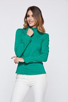 Fofy elastic cotton green office women`s shirt, women`s shirt, tented cut, back buttons fastening, Ruffled sleeves, long sleeves, thin fabric, elastic cotton