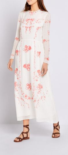 GP's Favorites: Rebecca Dress by Vilshenko in pure white silk printed with red watercolor florals
