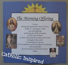 Morning Offering Prayer ~ Banner Craft ~ Catholic Inspired