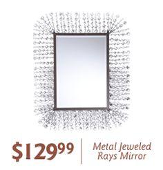 Metal Jeweled Rays Mirror