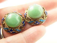 Jade Enamel Earrings  Vermeil  Sterling Silver  by VintageParis