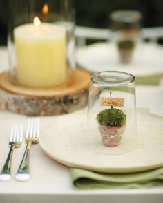 Welcome guests to a spring meal with little pots of moss. Covered with a glass, each looks like a mini terrarium. Fill a 1 1/2-inch terra-cotta pot with moss, insert twig in center, and glue a name tag to twig. Cover with a glass, which can be used for drinks.