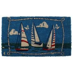 Doormat with boats design in synthetic grass www.inart.com