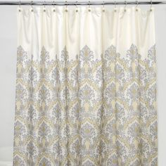 @Overstock - Add exotic flair to your bathroom decor with this bold shower curtain. With a soft damask grey pattern and yellow highlights atop a cream background, this shower curtain will lend charm to any bathroom setting.http://www.overstock.com/Bedding-Bath/Waverly-Bedazzled-Grey-damask-100-percent-Polyester-Shower-Curtain/6420324/product.html?CID=214117 $24.99