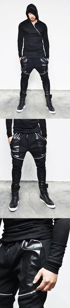 Bottoms :: Sweatpants :: Slant Zipper Leather Deco Slim Biker Baggy-Sweatpants 90 - Mens Fashion Clothing For An Attractive Guy Look