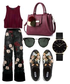 """Maroon style *floral"" by eriarai on Polyvore featuring Ganni, Dune, Spitfire and CLUSE"