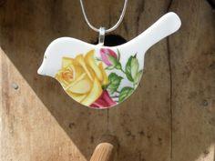 vintage china bird pendant - eco jewellery - broken china jewellery - Imperial bone china - yellow rose bird pendant on Etsy, $43.71