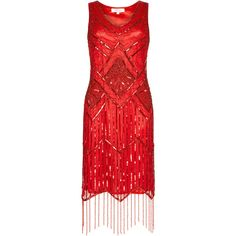 UK6 US2 AUS6 Isobel Red Vintage inspired 1920s Flapper Great Gatsby... (8.985 RUB) ❤ liked on Polyvore featuring dresses, 1920s beaded dress, red flapper dress, beaded dress, 1920s gatsby dress and 20s flapper dress