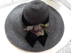 Beautiful Vintage Straw Wide Brim Picture Hat Millinery Flowers  #PictureHat