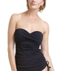 Black Twist Ruched Strapless Tankini Top