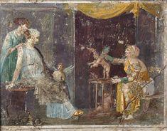 Wall Fragment with a Cupid Seller from the Villa di Arianna, Stabiae, Roman 1st century A.D. Fresco Soprintendenza speciale ai beni archeologici di Napoli e Pompei