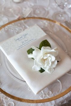 Annie Glass on white cut-lace tablecloth with white gardenia