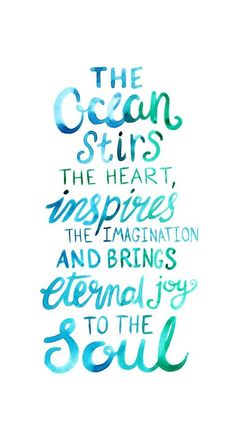 Ocean Love Quote - Watercolor Lettering Art Print