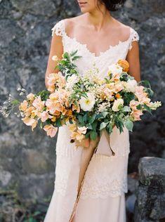 white, peach, coral w/ Bougainvillea in bouquet