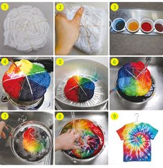Learn how to make over tie dye techniques from hearts to ombre to spiral to spider, learn how to make your own custom t-shirt! Fête Tie Dye, Tie Dye Party, How To Tie Dye, Tie Die Shirts, Diy Tie Dye Shirts, Diy Shirt, Batik Mode, Ty Dye, Textile Dyeing