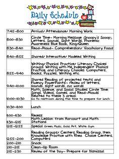 Kindergarten Celebration Daily Schedule Schedules Kids Full Day
