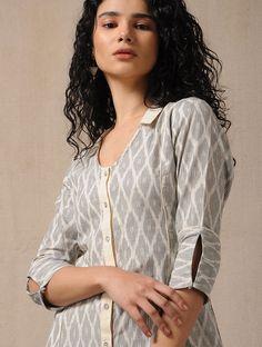 Best 11 Ivory-Grey Handloom Ikat Cotton Dress with Pockets – SkillOfKing. Salwar Neck Designs, Kurta Neck Design, Neck Designs For Suits, Sleeves Designs For Dresses, Kurta Designs Women, Dress Neck Designs, Sleeve Designs, Blouse Designs, Churidar Designs