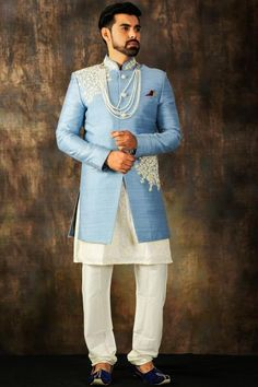 Columbia Blue Dori Embroidered Raw Silk Wedding Sherwani-SH641