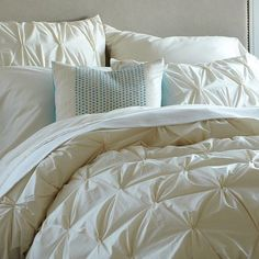 Organic Cotton Pintuck Duvet Cover + Shams - Natural | west elm